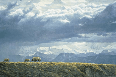 """Robert Bateman Hand-Signed and Numbered Limited Edition Giclee on Canvas: """"Along the Ridge - Grizzly Bears"""""""