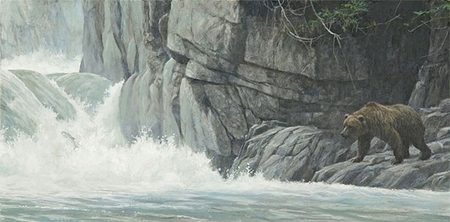 "Robert Bateman Hand Signed And Numbered Limited Edition Print  and Canvas Giclee :""Fishing Hole (Grizzly)"""