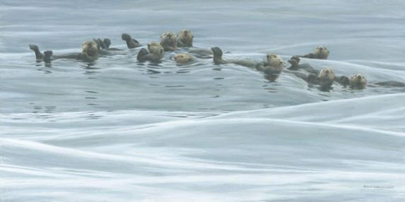 """Robert Bateman Hand-Signed and Numbered Limited Edition Print and Canvas Giclee:""""Raft of Otters"""""""