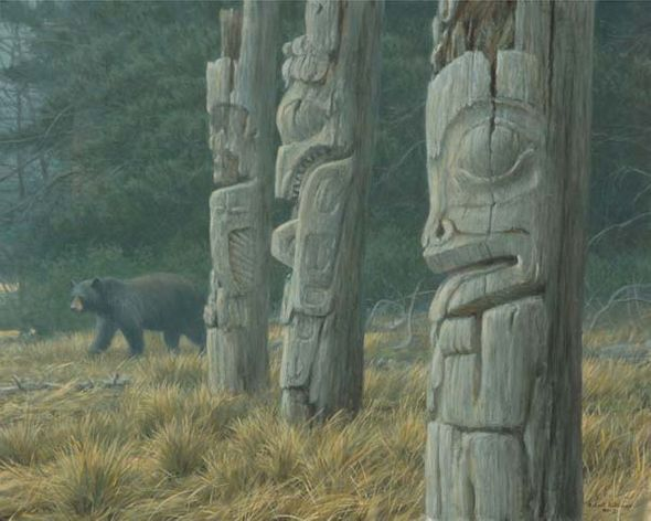 """Robert Bateman Hand Signed and Numbered Limited Edition Print and Canvas Giclee """"Totem and Bear"""""""