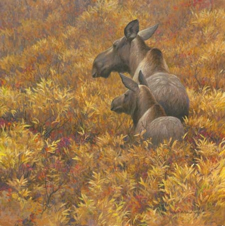 """Robert Bateman Hand Signed and Numbered Limited Edition Print: """"Fall Forage - Moose Calf and Cow """""""