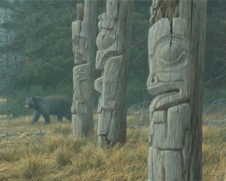 "Robert Bateman Hand Signed and Numbered Limited Edition Print and Canvas Giclee ""Totem and Bear"""
