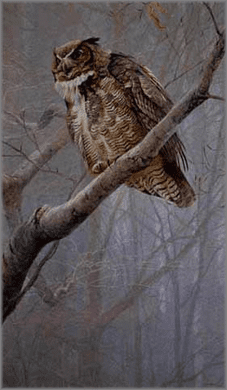 "Robert Bateman Hand Signed And Numbered Limited Edition Renaissance Collection Canvas Giclee:""Winter Mist - Great-Horned Owl"""