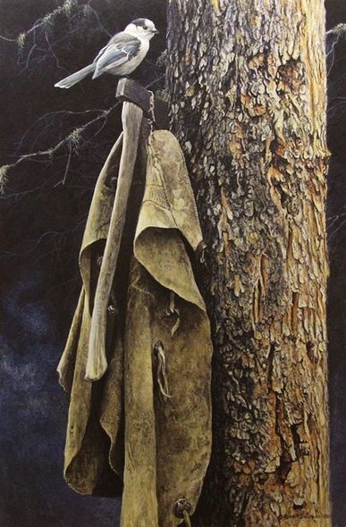 "Robert Bateman Hand Signed and Numbered Limited Edition Renaissance Giclee Canvas :""Wranglers Campsite Gray Jay"""