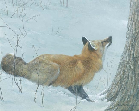 """Robert Bateman Handsigned and Numbered Limited Edition: """"Game Over - Fox and Maple"""""""