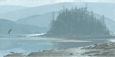 """Robert Bateman Handsigned and Numbered Limited Edition Giclee on Canvas:""""Along the Coast—Bald Eagle"""""""