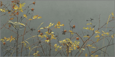 """Robert Bateman Handsigned and Numbered Limited Edition Giclee on Canvas: """"Rose Hip and Kinglet """""""