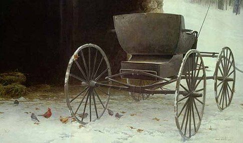"""Robert Bateman Handsigned and Numbered Limited Edition Renaissance Giclee on Canvas:""""Old Buggy and Winter Birds"""""""