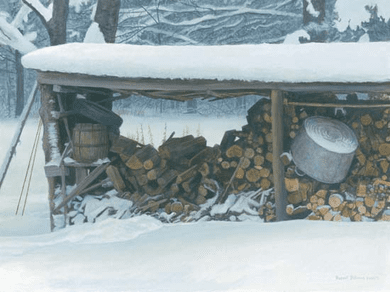 "Robert Bateman Handsigned and Numbered Limited Edition:""Woodshed in Winter - Ermine """