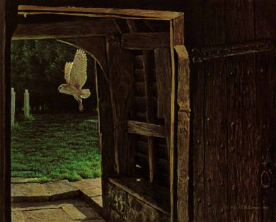 """Robert Bateman Handsigned & Numbered Limited Edition Giclee on Canvas:""""Barn Owl in the Churchyard"""""""