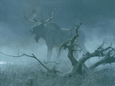 """Robert Bateman Handsigned & Numbered Limited Edition Giclee on Canvas:""""Moose in Moonlight"""""""
