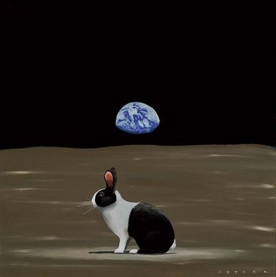 "Robert Deyber Artist Signed Limited Edition Hand-crafted Stone Lithograph:""A Hare Out of Place I (Outer-Space)"""