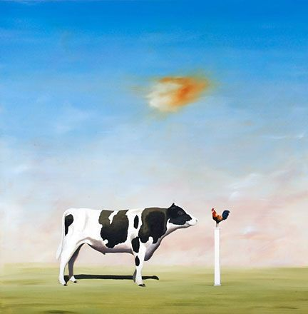 """Robert Deyber Artist Signed Limited Edition Hand-crafted Stone Lithograph:""""Another Cock and Bull Story"""""""