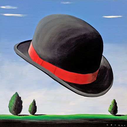 """Robert Deyber Artist Signed Limited Edition Hand-crafted Stone Lithograph:""""At the Drop of a Hat ( Bowler)"""""""