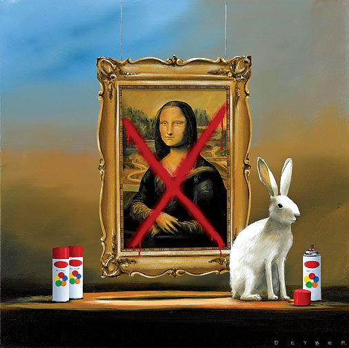 """Robert Deyber Artist Signed Limited Edition Hand-crafted Stone Lithograph:""""Bad Hare Day V - Mona Lisa"""""""