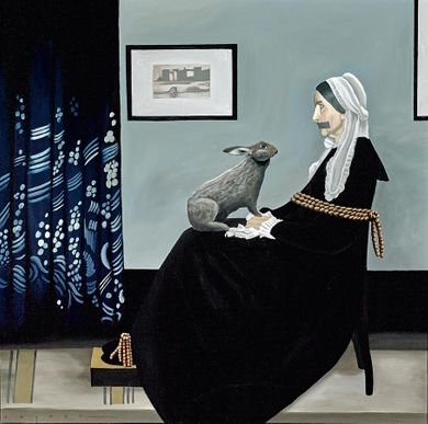 """Robert Deyber Artist Signed Limited Edition Hand-crafted Stone Lithograph:""""Bad Hare Day (Whistler's Mother)"""""""