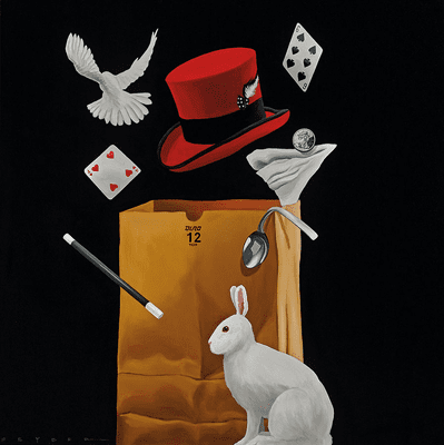 """Robert Deyber Artist Signed Limited Edition Hand-crafted Stone Lithograph:""""Bag of Tricks II"""""""
