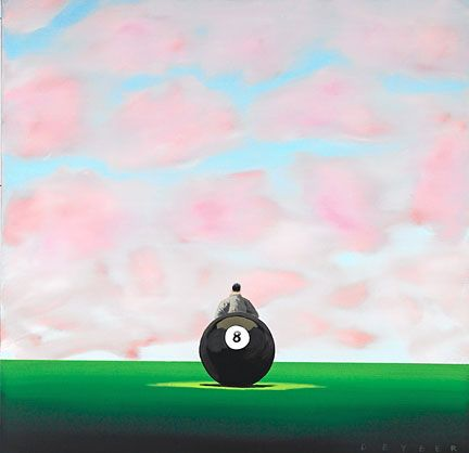 "Robert Deyber Artist Signed Limited Edition Hand-crafted Stone Lithograph:""Behind the Eight Ball"""