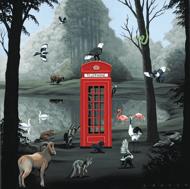 "Robert Deyber Artist Signed Limited Edition Hand-crafted Stone Lithograph:""Call of the Wild (English Phone Booth)"""