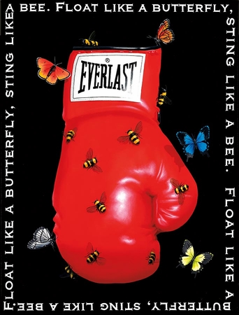 """Robert Deyber Artist Signed Limited Edition Hand-crafted Stone Lithograph:""""Float Like A Butterfly, Sting Like A Bee"""""""