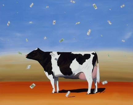 "Robert Deyber Artist Signed Limited Edition Hand-crafted Stone Lithograph:""Cash Cow"""