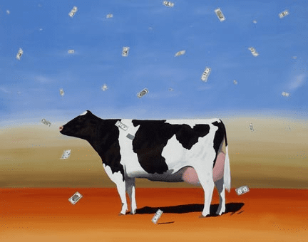 """Robert Deyber Artist Signed Limited Edition Hand-crafted Stone Lithograph:""""Cash Cow"""""""