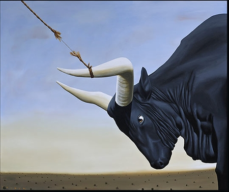 """Robert Deyber Artist Signed Limited Edition Hand-crafted Stone Lithograph:"""" Bull by the Horns, I've Got the,"""""""