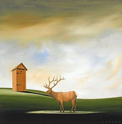 """Robert Deyber Artist Signed Limited Edition Hand-crafted Stone Lithograph:""""Deer John"""""""