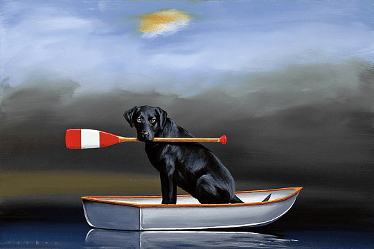"""Robert Deyber Artist Signed Limited Edition Hand-crafted Stone Lithograph:""""Doggie Paddle"""""""