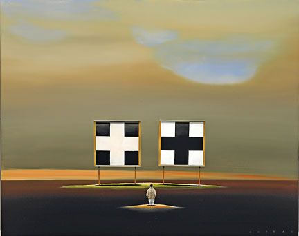 """Robert Deyber Artist Signed Limited Edition Hand-crafted Stone Lithograph:""""Double Crossed"""""""