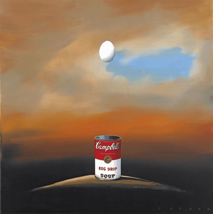 """Robert Deyber Artist Signed Limited Edition Hand-crafted Stone Lithograph:""""Egg Drop Soup II"""""""