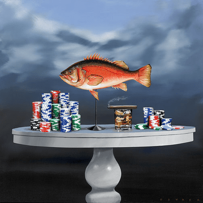 """Robert Deyber Artist Signed Limited Edition Hand-crafted Stone Lithograph:""""Fish & Chips"""""""