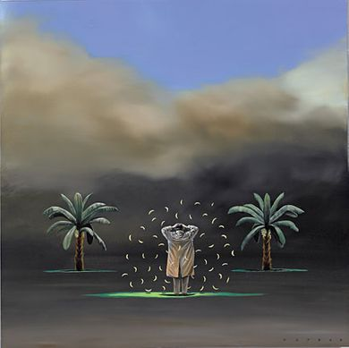 "Robert Deyber Artist Signed Limited Edition Hand-crafted Stone Lithograph:""Going Bananas"""