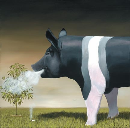 "Robert Deyber Artist Signed Limited Edition Hand-crafted Stone Lithograph:""High on the Hog"""