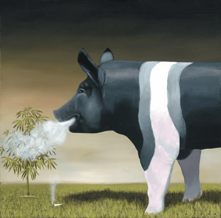 """Robert Deyber Artist Signed Limited Edition Hand-crafted Stone Lithograph:""""High on the Hog"""""""