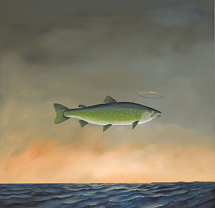 """Robert Deyber Artist Signed Limited Edition Hand-crafted Stone Lithograph:""""Holy Mackerel"""""""