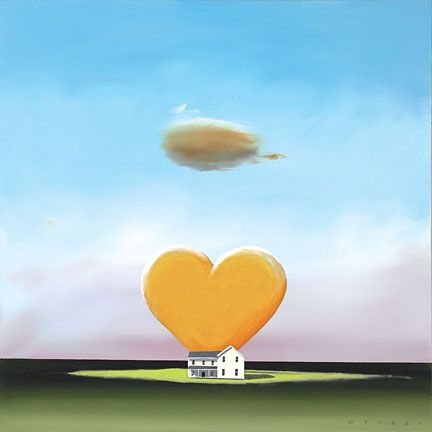 "Robert Deyber Artist Signed Limited Edition Hand-crafted Stone Lithograph:""Home is Where the Heart is"""