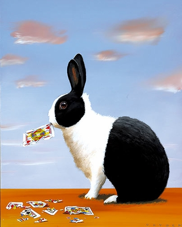 """Robert Deyber Artist Signed Limited Edition Hand-crafted Stone Lithograph:""""Jack Rabbit"""""""