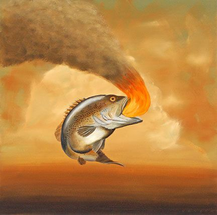 """Robert Deyber Artist Signed Limited Edition Hand-crafted Stone Lithograph:""""Like a Fish out of Water"""""""