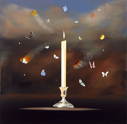 """Robert Deyber Artist Signed Limited Edition Hand-crafted Stone Lithograph:""""Like Moths to a Flame"""""""
