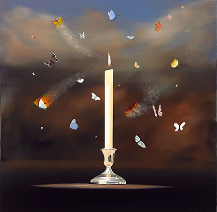 "Robert Deyber Artist Signed Limited Edition Hand-crafted Stone Lithograph:""Like Moths to a Flame"""