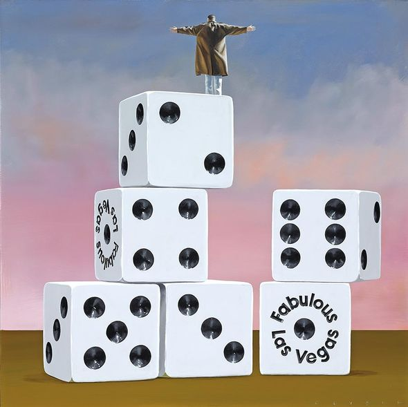 "Robert Deyber Artist Signed Limited Edition Hand-crafted Stone Lithograph:""On Top of His Game (Vegas)"""