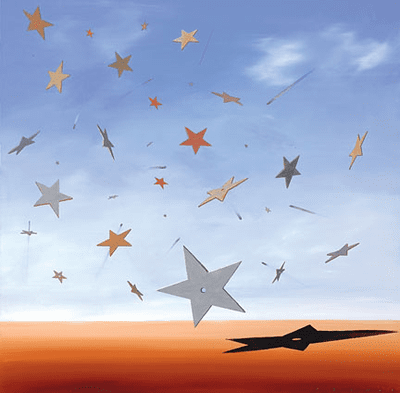 "Robert Deyber Artist Signed Limited Edition Hand-crafted Stone Lithograph:""Shooting Stars"""