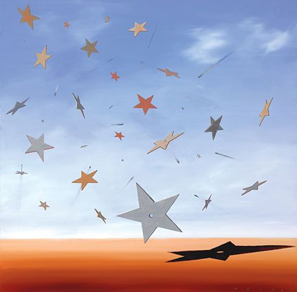 """Robert Deyber Artist Signed Limited Edition Hand-crafted Stone Lithograph:""""Shooting Stars"""""""
