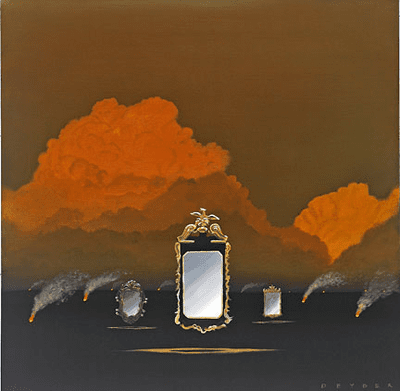 """Robert Deyber Artist Signed Limited Edition Hand-crafted Stone Lithograph:""""Smoke and Mirrors"""""""
