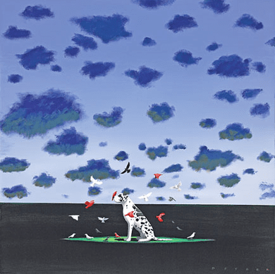 """Robert Deyber Artist Signed Limited Edition Hand-crafted Stone Lithograph:""""The Bird Dog"""""""
