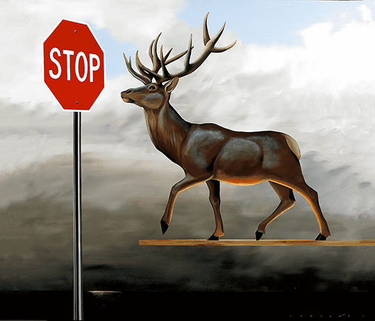 """Robert Deyber Artist Signed Limited Edition Hand-crafted Stone Lithograph:""""The Buck Stops Here (Elevated Buck)"""""""