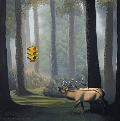 """Robert Deyber Artist Signed Limited Edition Hand-crafted Stone Lithograph:""""The Buck Stops Here (Traffic Light) """""""
