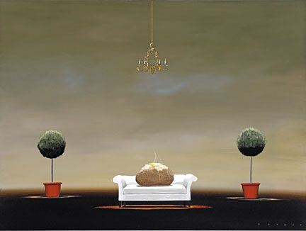 """Robert Deyber Artist Signed Limited Edition Hand-crafted Stone Lithograph:""""The Couch Potato"""""""