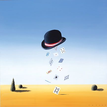 """Robert Deyber Artist Signed Limited Edition Hand-crafted Stone Lithograph:""""The Hat Trick"""""""